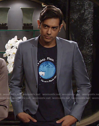 Ravi's pluto graphic tee on The Young and the Restless