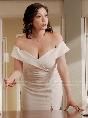 Rebecca's white off-shoulder dress on Crazy Ex-Girlfriend