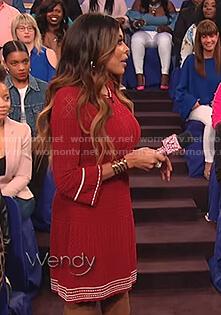 Wendy's red long sleeved knit dress on The Wendy Williams Show