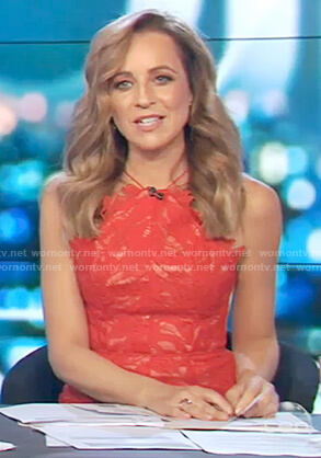 Carrie's red lace sleeveless dress on The Project