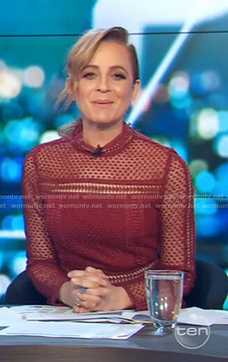 Carrie's red lace long sleeve dress on The Project