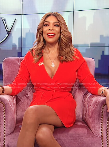 Wendy's red long sleeve waist tie wrap dress on The Wendy Williams Show