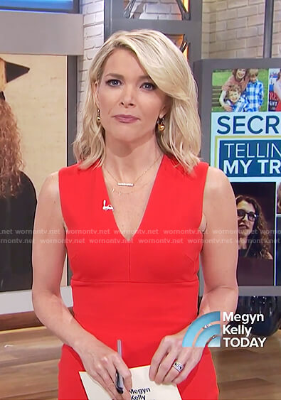 Megyn's red sleeveless v-neck dress on Megyn Kelly Today