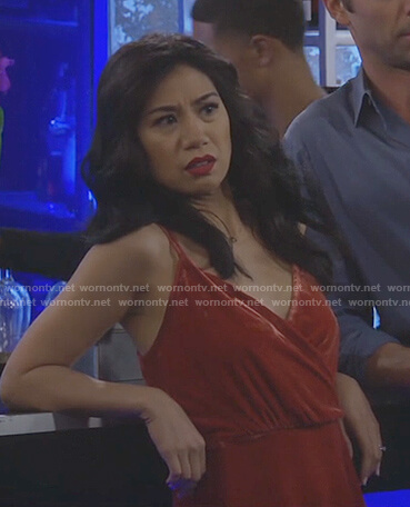 Eve's red velvet cami top on 9JKL