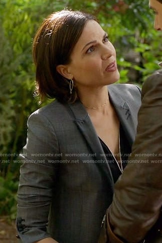 Regina's grey plaid blazer with leather lapel on Once Upon a Time