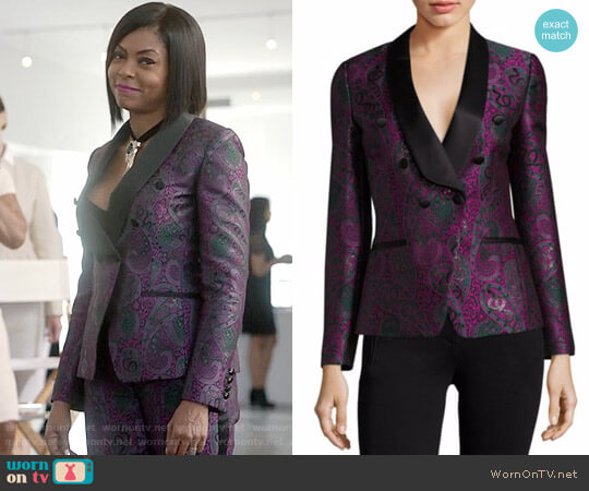 Roberto Cavalli Paisley Jacquard Double-Breasted Blazer and Pants worn by Taraji P. Henson on Empire