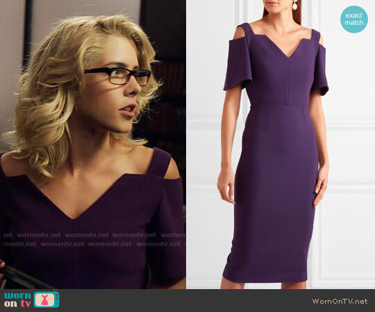 Roland Mouret Awalton Dress worn by Felicity Smoak (Emily Bett Rickards) on Arrow