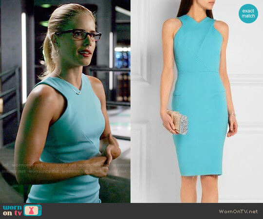 Roland Mouret Wilton Dress worn by Felicity Smoak (Emily Bett Rickards) on Arrow