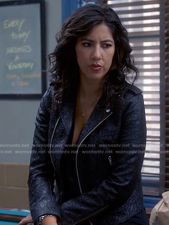 Rosa's lace patterned leather moto jacket on Brooklyn Nine-Nine