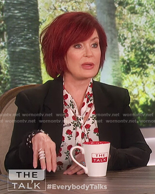 Sharon's rose print neck tie top on The Talk
