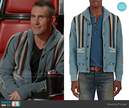 RRL Folkloric-Striped Cotton-Blend Cardigan worn by Adam Levine on The Voice