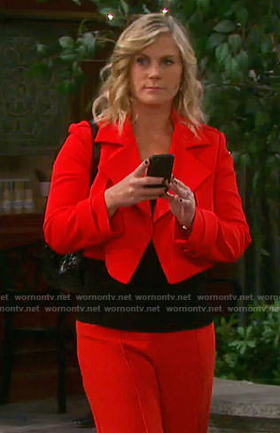 Sami's red cropped jacket on Days of our Lives
