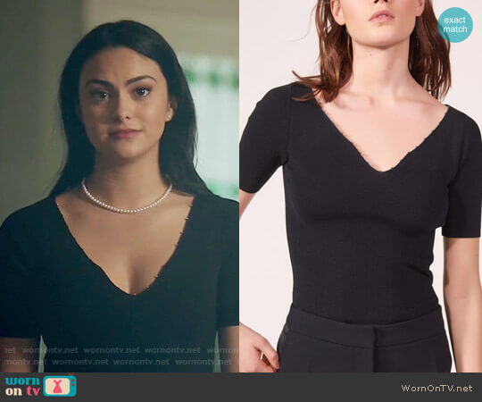 Sandro Knitted Top with Beaded Neckline worn by Camila Mendes on Riverdale