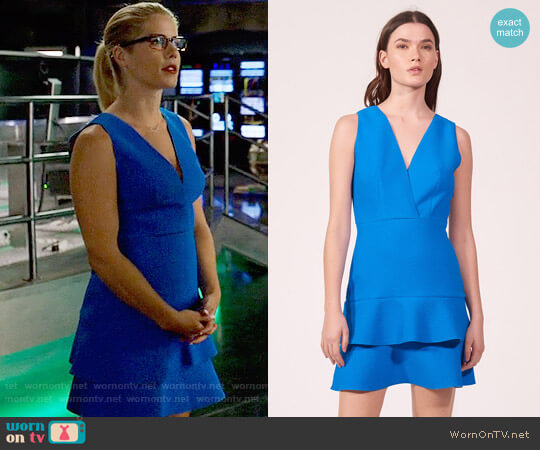 Sandro V-neck Dress with Double Ruffle worn by Felicity Smoak (Emily Bett Rickards) on Arrow