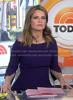 Savannah's purple split sleeve dress on Today