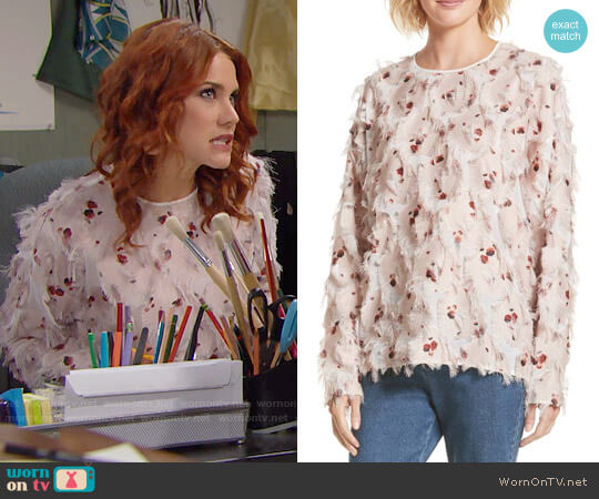 See by Chloe Feather Jacquard Blouse worn by Courtney Hope on The Bold & the Beautiful