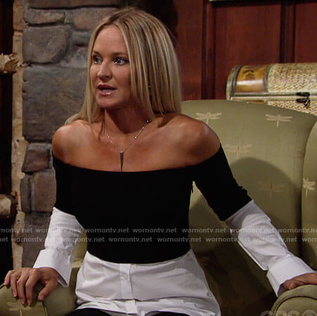 Sharon's black and white layered off-shoulder top on The Young and the Restless