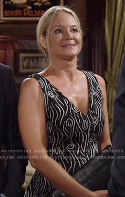 Sharon's black and white patterned v-neck dress on The Young and the Restless