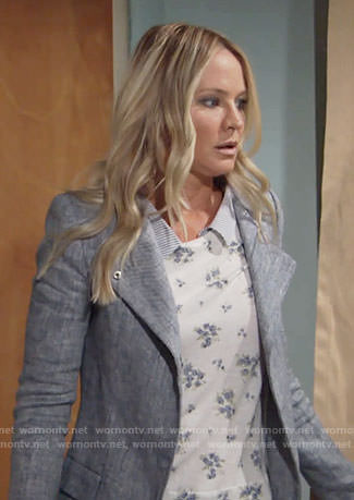 Sharon's floral layered sweater on The Young and the Restless