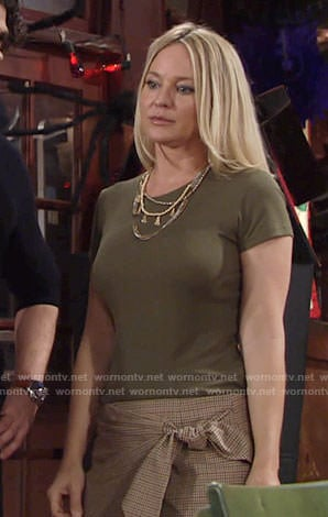 Sharon's green top and checked wrap skirt on The Young and the Restless