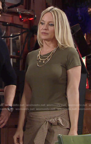 Sharon's green top and checked wrap top on The Young and the Restless