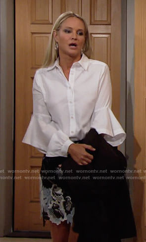 Sharon's white ruffled shirt and leather and lace skirt on The Young and the Restless
