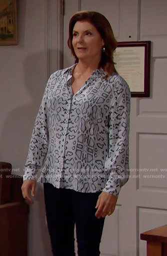 Sheila's snake print shirt on The Bold and the Beautiful