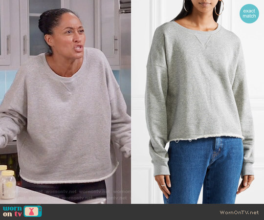 Simon Miller Frayed French Cotton-terry Sweatshirt worn by Tracee Ellis Ross on Blackish