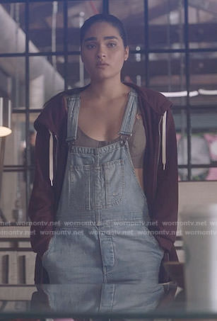 Simone's denim overalls and bustier top on Star