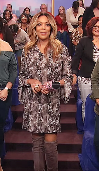 Wendy's black snake skin print dress on The Wendy Williams Show