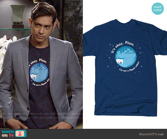 Snorg Tees It's Okay Pluto T-shirt worn by Ravi Shapur (Abhi Sinha) on The Young & the Restless