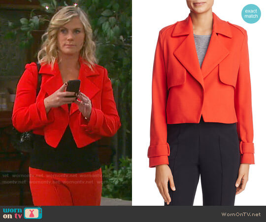 St. Emile Solveig Cropped Trench Jacket worn by Sami Brady (Alison Sweeney) on Days of our Lives