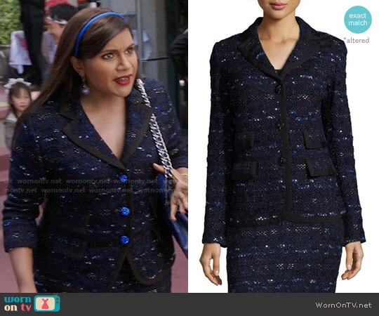 St John Collection Evening Cruise-Stripe Jacket and Skirt worn by Mindy Kaling on The Mindy Project
