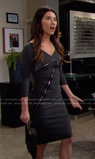 Steffy's grey asymmetric zip-front dress on The Bold and the Beautiful