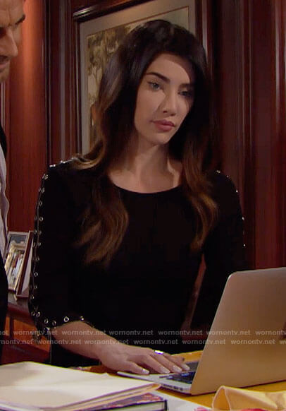 Steffy's black zip-sleeve dress on The Bold and the Beautiful
