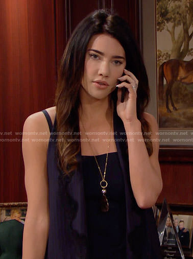 Steffy's navy lace-trim vest on The Bold and the Beautiful