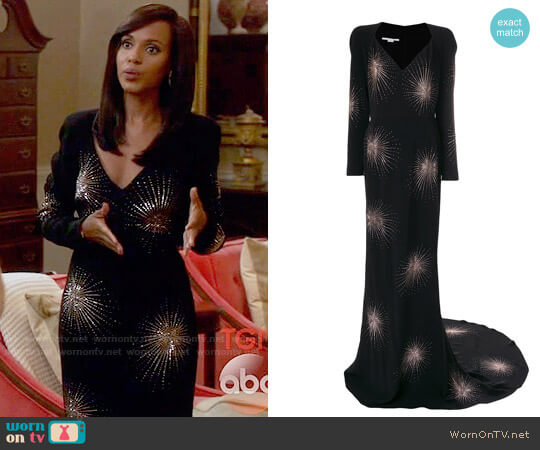 Stella McCartney Crystal Embellished Firework Gown worn by Kerry Washington on Scandal