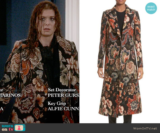 Stella McCartney Floral Tapestry Long Coat worn by Debra Messing on Will & Grace