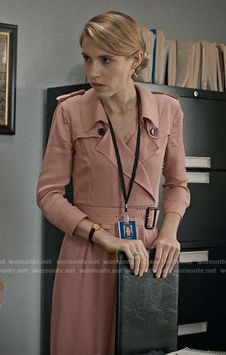 Stevie's pink trench dress on Madam Secretary
