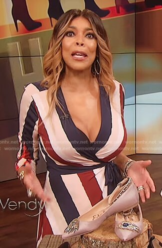 Wendy's striped asymmetric hem wrap dress on The Wendy Williams Show