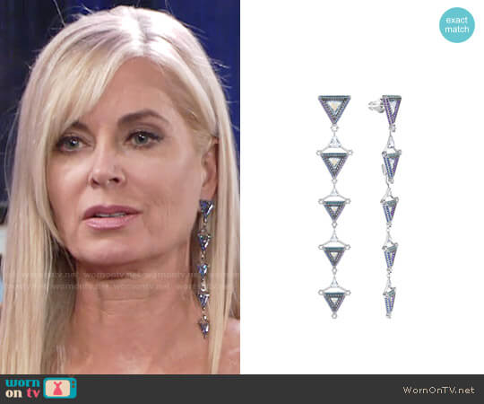 Swarovski Hologram Pierced Earrings worn by Eileen Davidson on The Young & the Restless