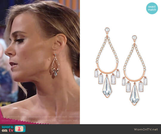 Swarovski Rose Gold-Tone Crystal Chandelier Earrings worn by Gina Tognoni on The Young & the Restless