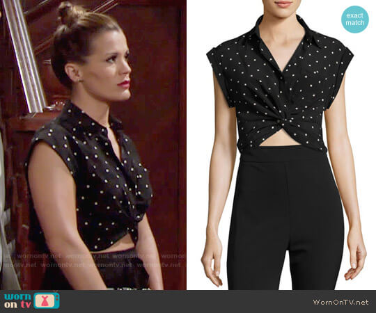 T by Alexander Wang Printed Twist-Front Silk Top worn by Melissa Claire Egan on The Young & the Restless