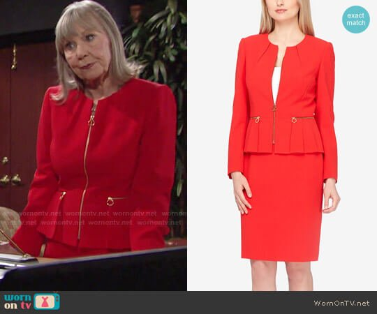 Tahari ASL Zip-Up Pleated Peplum Skirt Suit worn by Marla Adams on The Young & the Restless