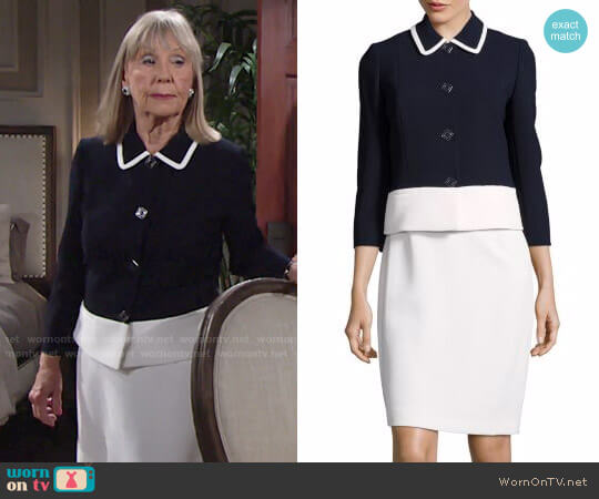 Tahari ASL Colorblock Pique Button-Front Jacket worn by Dina Mergeron (Marla Adams) on The Young & the Restless