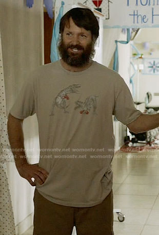Tandy's boxing dinosaurs t-shirt on Last Man on Earth