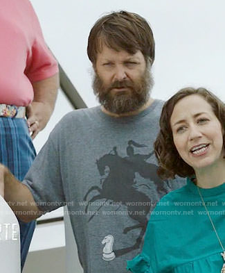 Tandy's grey knight graphic tee on Last Man on Earth