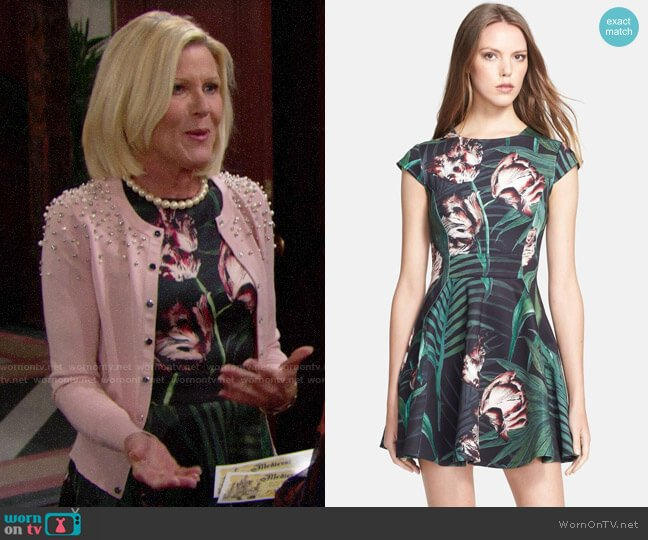 Ted Baker 'Florell' Palm Floral Print Dress worn by Pamela Douglas (Alley Mills) on The Bold & the Beautiful