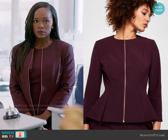 Ted Baker Suria Jacket worn by Aja Naomi King on HTGAWM