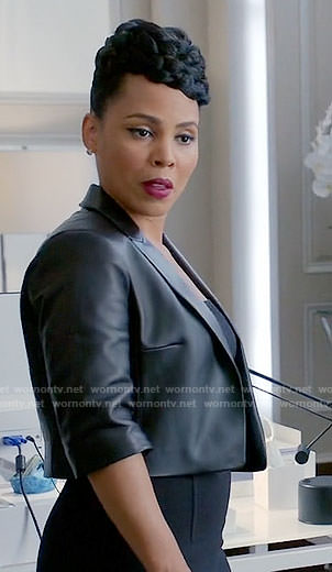Tegan's cropped leather jacket on How to Get Away with Murder